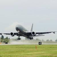 A KC-46 Pegasus takes to the skies. Photo courtesy of the USAF.