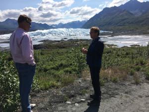 CIRI's Jason Moore, senior director, Corporate Affairs, chats with Matanuska Glacier Park caretaker and guide Bill Stevenson. Photo by Carly Stuart.
